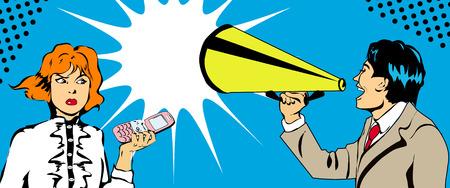 insulto: Joven empresario gritando en mujer, ilustraci�n de estilo pop-art
