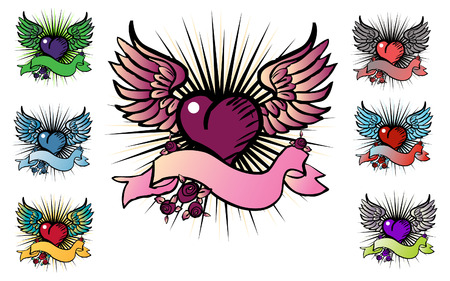 7 tattoo style emblem,  love, flower, fly icon Vector