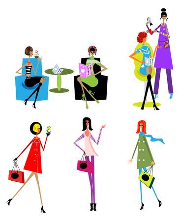 ladenkast: Schoonheid vrouw dag levens stijl iconen, haar verzorging, spa salon, shoppng, drinken, lezen  Stock Illustratie