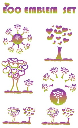 Ecology web emblem icon, tree environmental tree symbols Stock Vector - 6391204