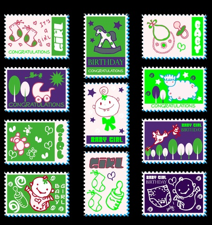 baby girl postage stamps  baby icons Stock Vector - 9631902