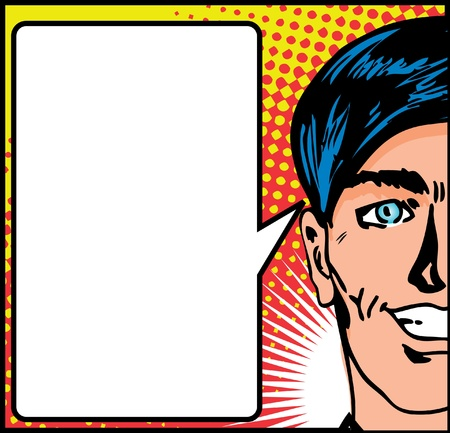 Pop Art Closeup of a happy male with speech blank card  Illustration