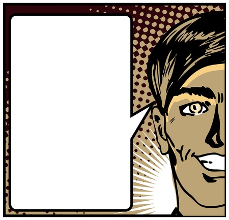 man standing alone: Pop Art Closeup of a happy male with speech blank card  Illustration