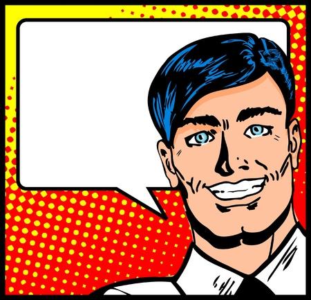 manga style: Pop Art Business Man with Speech Bubble. Retro business smiley man   Illustration