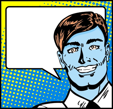 business shirts: Hombre de negocios de arte pop con bocadillo. Hombre de negocios retro smiley