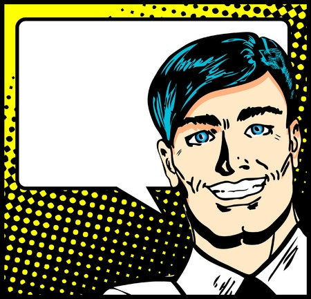 Pop Art Business Man with Speech Bubble. Retro business smiley man   Illustration