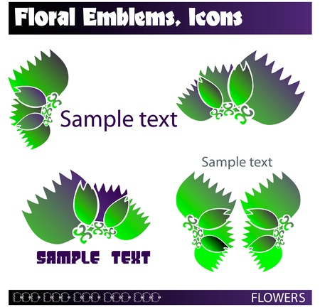 Flowers icons, symbols, emblems.  Set of different abstract symbols for design. Vector