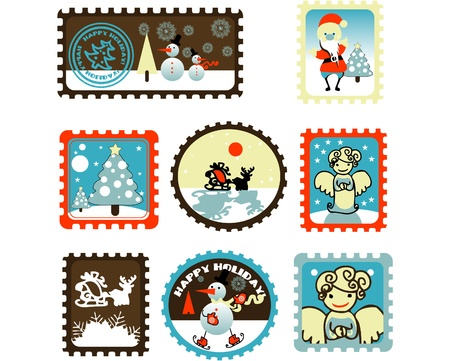 Large Set of colorful Christmas Postage stamps illustration Vector