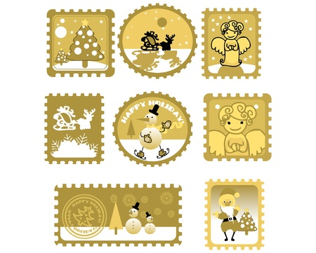 Large Set of colorful Christmas Postage stamps illustration Stock Vector - 9631904