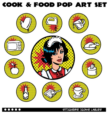 Cook and Food Pop Art Icons Set. Retro lables, stickers collection