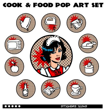 Cook and Food Pop Art Icons Set. Retro lables, stickers collection Vector