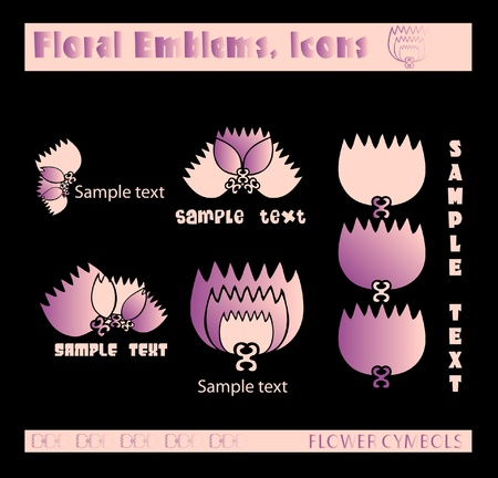 gallerie flowers, emblems, icons on dark background Vector