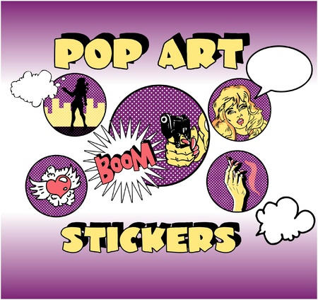 Vintage Popart Stickers, Woman Gangster Vector