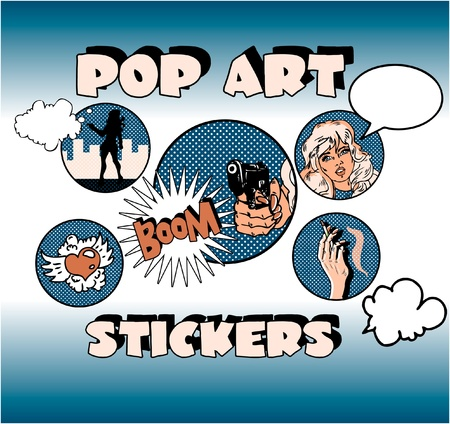 Vintage Popart Stickers, Woman Gangster Stock Vector - 9631944