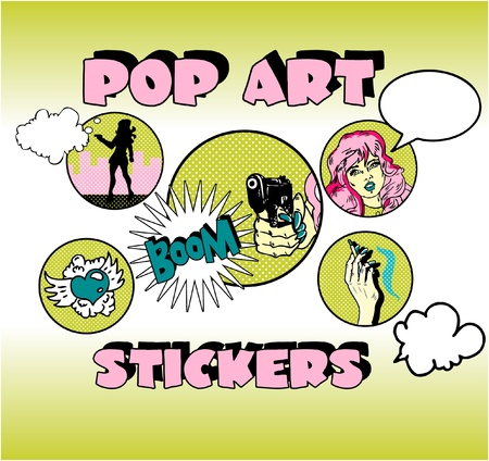 Vintage Popart Stickers, Woman Gangster Stock Vector - 9631942