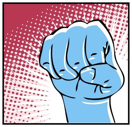 obscene gesture: Pop Art dripping fist  human hand