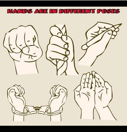hold hand: Le mani sono in pose diverse. illustrazioni insieme. Stile tatuaggio Vettoriali