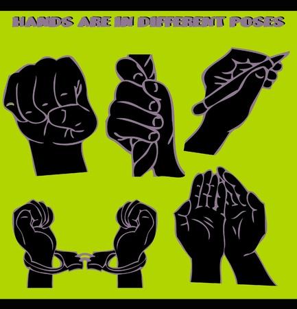 dangle: Le mani sono in pose diverse. illustrazioni insieme. Stile tatuaggio Vettoriali