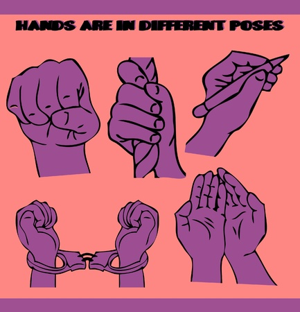 Hands are in different poses. illustrations set. Tattoo style Vector