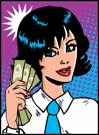 Pop Art Business Woman with money in hand. Vintage Comic Background