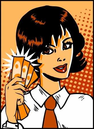 Pop Art Business Woman with money in hand. Vintage Comic Background Vector