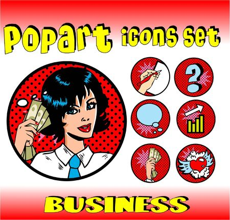 love of money: Business money top signs. pop art style icons set. woman in business