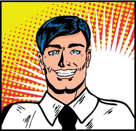 Satisfied smiling businessman. Pop Art Smiley Man Vector