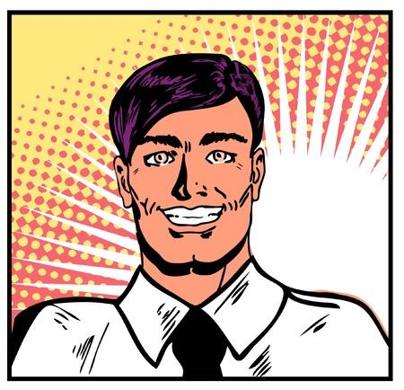 Satisfied smiling businessman. Pop Art Smiley Man