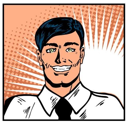 male grooming: Satisfied smiling businessman. Pop Art Smiley Man