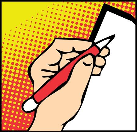 Le Pop Art mâles mains avec le stylet sur fond blanc Banque d'images - 9631827
