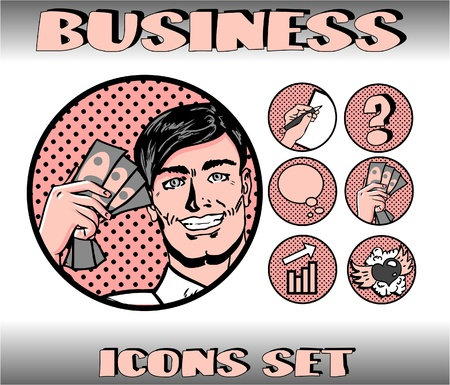Pop Art Business Icons Set. Businessman, Money, Finance, Communication, Love Illustration