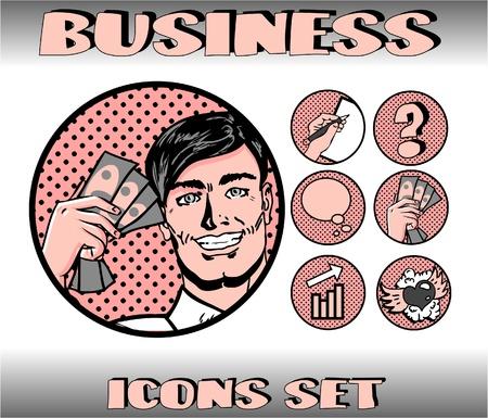 Pop Art Business Icons Set. Businessman, Money, Finance, Communication, Love Vector