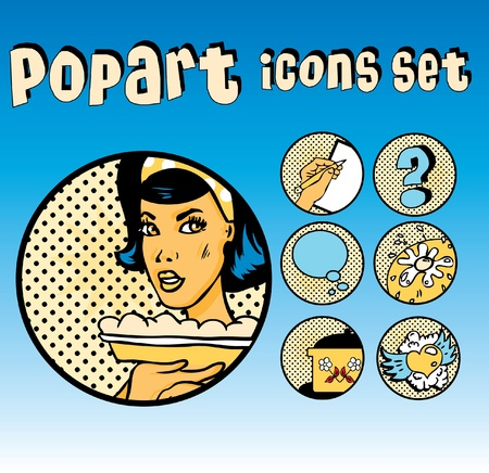 Popart Comic Icons Set Cookery. Vintage Cute emblems. Community tags Stock Vector - 9631917