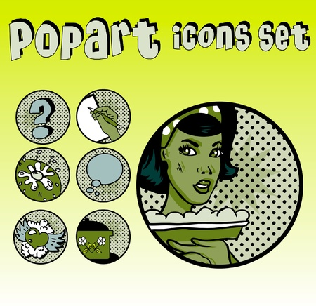 Popart Comic Icons Set Cookery. Vintage Cute emblems. Community tags Vector