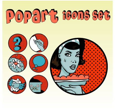Popart Comic Icons Set Cookery. Vintage Cute emblems. Community tags Stock Vector - 9631918