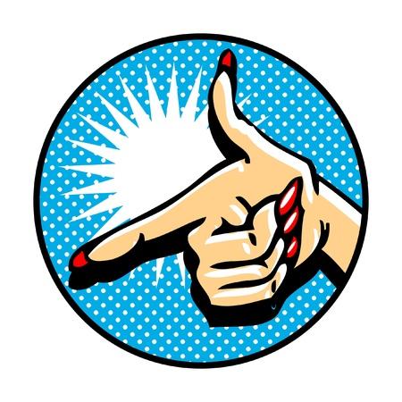 mano pistola: Close-up della mano, indicando come una pistola. Emblema di stile comico PopArt