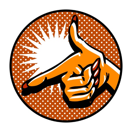 Close-up of hand, pointing like a gun. Popart comic style emblem Vector