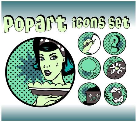 Vintage Icons of Cook and food. Popart emblems set for cooking community Vector