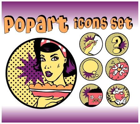 Vintage Icons of Cook and food. Popart emblems set for cooking community Stock Vector - 9631916