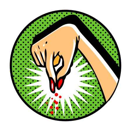 Female hand in pop art comic book style Vector