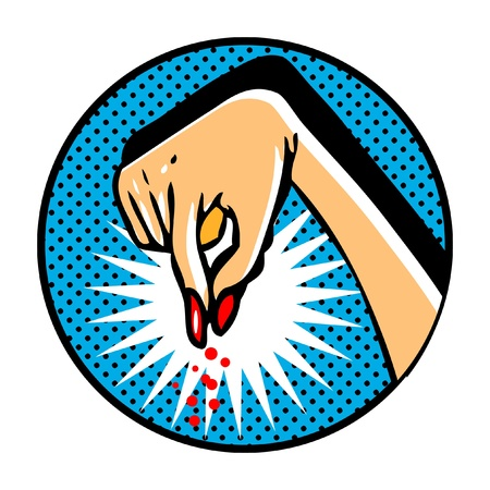 Female hand in pop art comic book style Vector