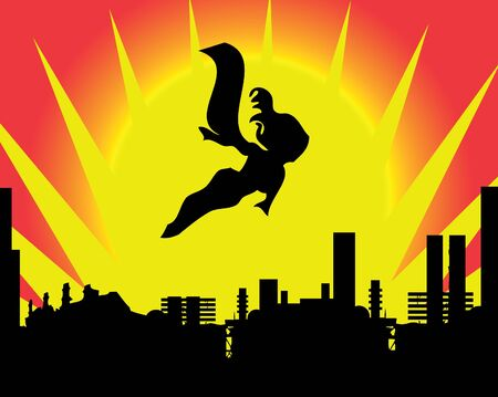 Stick figure superhero flies past bright sun burst  Vector