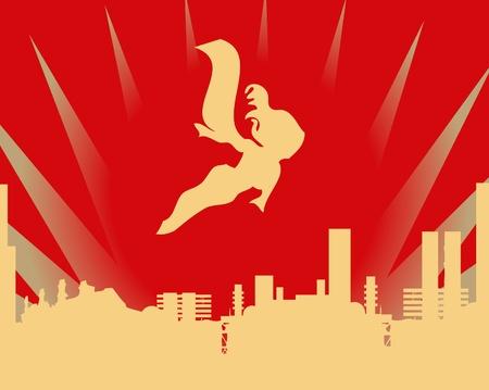 Stick figure superhero flies past bright sun burst Stock Vector - 9631811