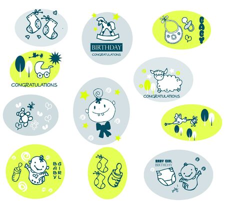 squiggles: squiggles: baby icons Illustration