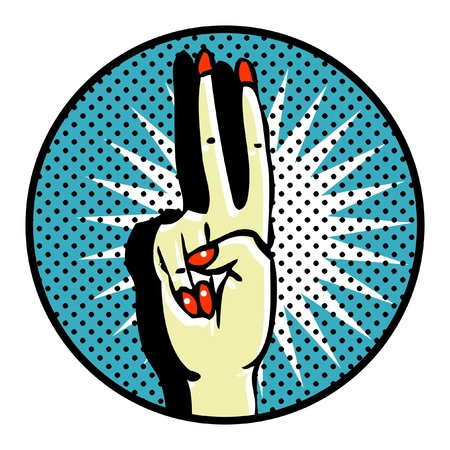 Victory Popart Symbol. HAnds care. Manicure