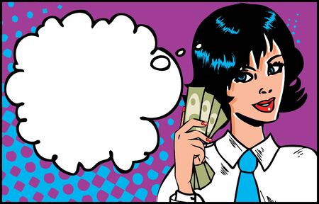 woman holding money: Portrait of cheerful business woman holding money on Pop Art Retro Background