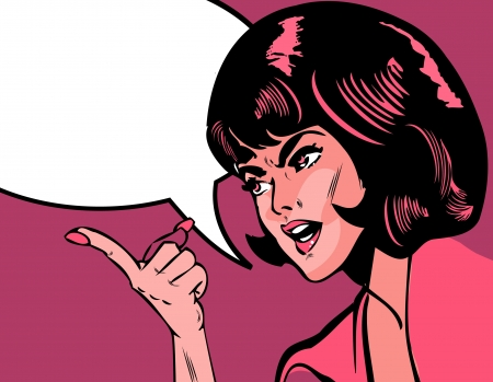 portrait of angry woman pointing over background speech bobble comic style ad banner