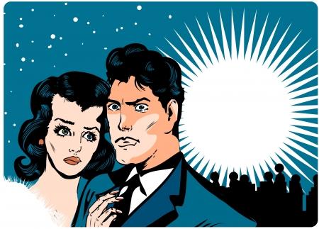 decepcionado: Comics de pareja en banner de fondo skyline cielo y ciudad de nieve de amor Vectores