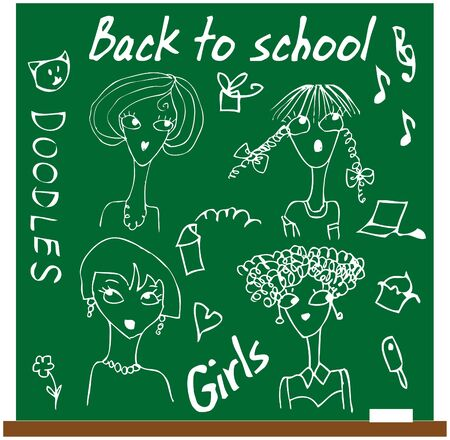 Back to school girls set cartoon face Vector