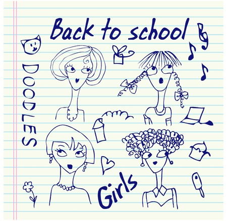 Hand-Drawn Back to School Notebook Doodles  Vector